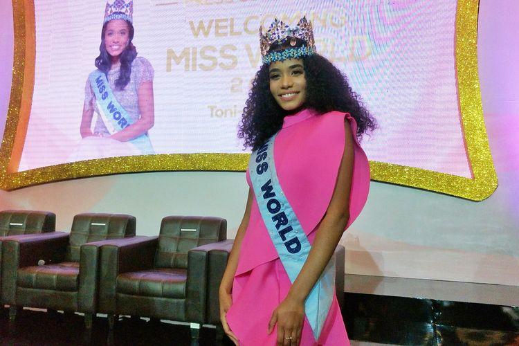 Miss World 2019 Toni Ann-Singh dalam jumpa pers di MNC Studios, Kebon Jeruk, Jakarta Barat, Selasa (18/2/2020).