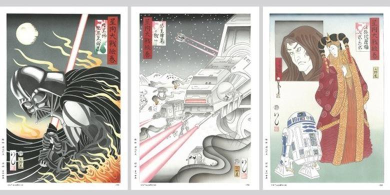 Karakter Star Wars dalam lukisna tradisional Jepang, ukiyo-e.