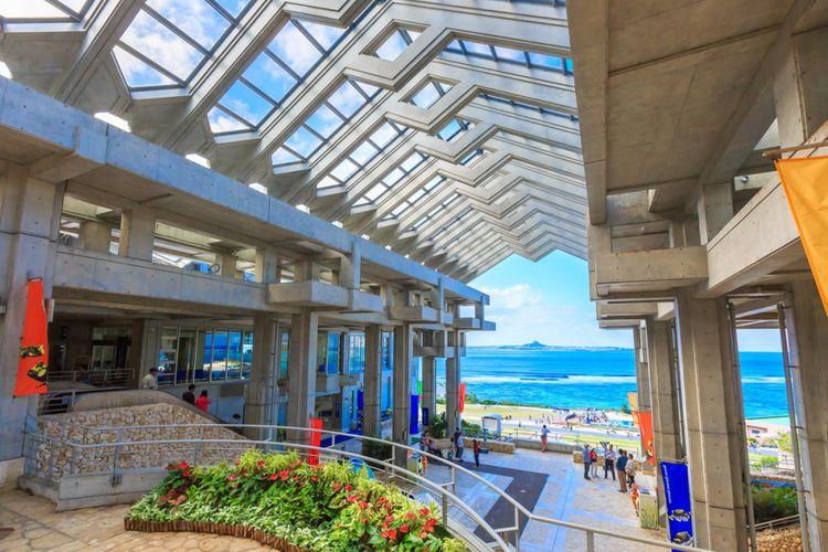 Okinawa Churaumi Aquarium adalah salah satu destinasi wisata andalan di Pulau Okinawa. Tempat ini terletak di pinggir lepas pantai sehingga pemandangan di sekelilingnya pun sangat indah. Tampak dalam foto adalah suasana pintu masuk Churaumi Okinawa Churaumi Aquarium yang menghadap laut nan biru.
