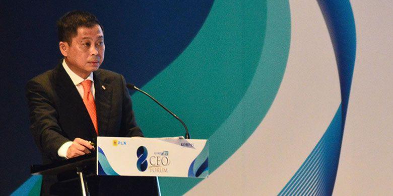 Menteri Energi dan Sumber Daya Mineral (ESDM) Ignasius Jonan ketika menjadi pembicara di Kompas 100 CEO Forum di Raffles Jakarta, Kuningan, Rabu (29/11/2017).