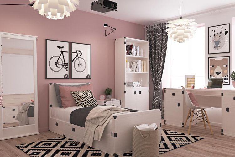 Kamar anak remaja multifungsi bernuansa pink, hitam, dan putih