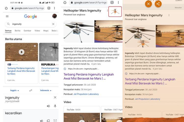 Cara memunculkan helikopter Ingenuity di laman hasil pencarian Google.