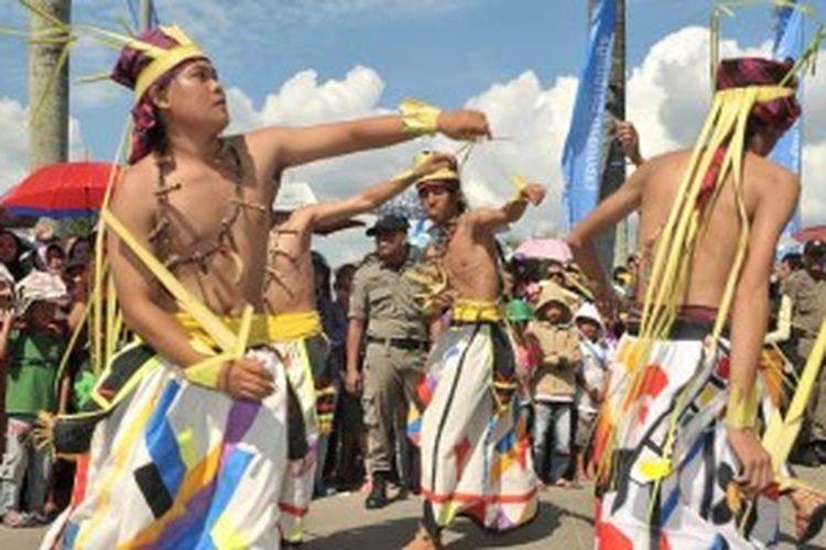 Festival Erau di Tenggarong, Kutai Kartanegara, Kalimantan Timur, Sabtu (29/6/2013).