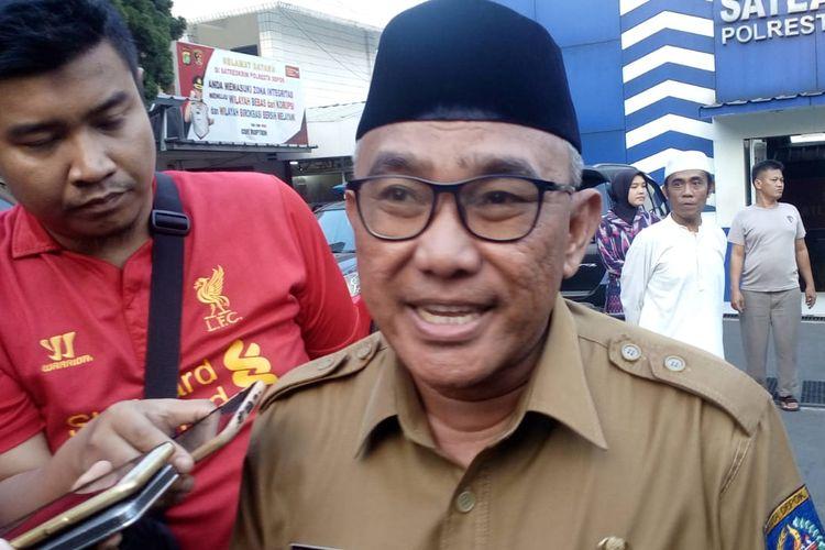 Wali Kota Depok Mohammad Idris di Polresta Depok, Selasa (21/5/2019).