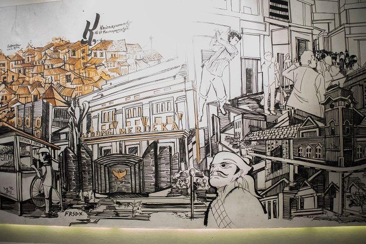 Salah satu contoh bagian dari lukisan Kota Bandung di Gedung Sate, Bandung, Jumat (17/1/2020).