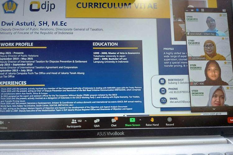 CV Dwi Astuti pada webinar Prodi Hubungan Masyarakat Jurusan Ilmu Komunikasi UPN Veteran Yogyakarta (UPN Jogja), Rabu (7/7/2021).