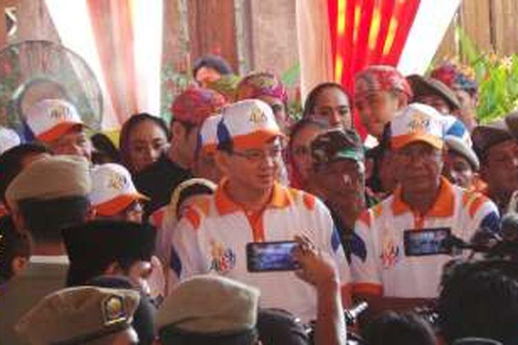 Gubernur DKI Jakarta Basuki Tjahaja Purnama saat menghadiri pencanangan HUT ke-489 DKI Jakarta, di Setu Babakan, Jakarta Selatan, Sabtu (28/5/2016).