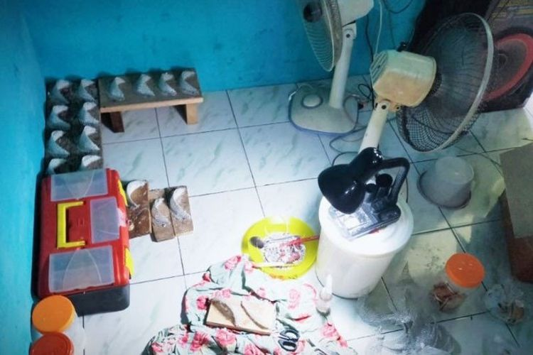 Sejumlah barang bukti ditemukan polisi di rumah tersangka pembuat sarang walet palsu di Sampit.