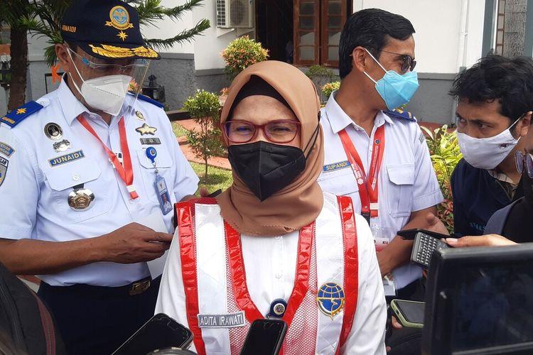 Juru Bicara Kementerian Perhubungan (Kemenhub) Adita Irawati di Stasiun Klaten, Jawa Tengah, Senin (1/3/2021).