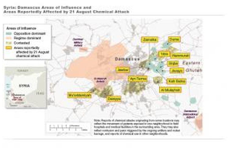 Ini adalah peta terdampak serangan pada Rabu (21/8/2013) di Suriah, yang menjadi lampiran dalam laporan intelijen Amerika Serikat yang dipublikasikan akhir pekan lalu. Data dalam peta ini juga dikutip dalam laporan intelijen Inggris dan Perancis.