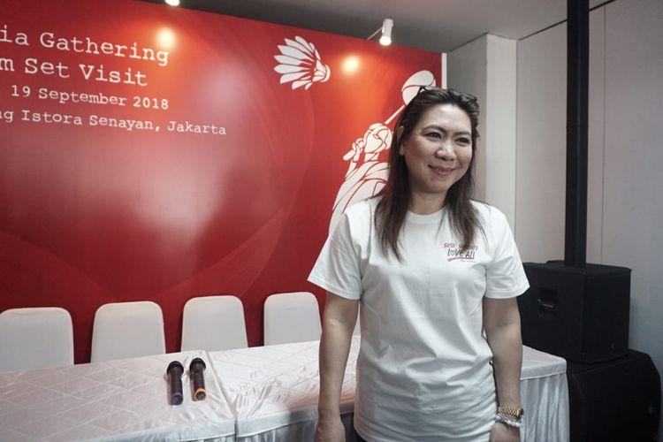 Susy Susanti saat ditemui dalam jumpa pers film Susy Susanti-Love All di Gedung Istora Senayan, Jakarta Selatan, Rabu (19/9/2018).