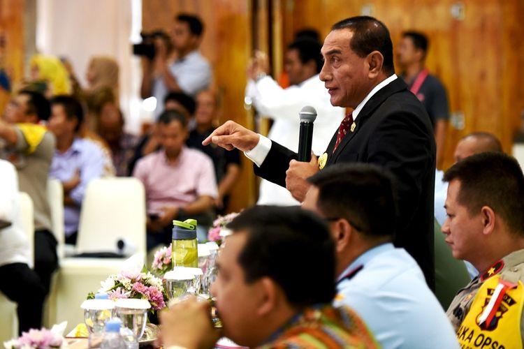 Gubernur Sumut Edy Rahmayadi memimpin Rakor Penanggulangan Karhutla di Sumut, Jumat (20/9/2019)