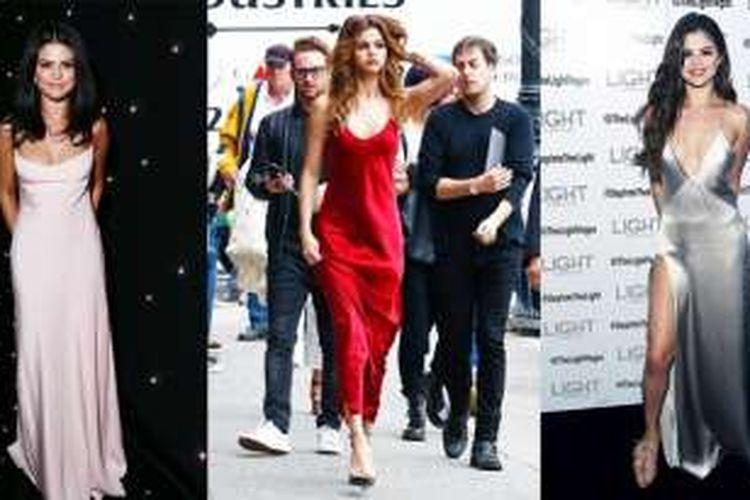 Selena Gomez mengenakan gaun slip dress dalam sejumlah acara formal.