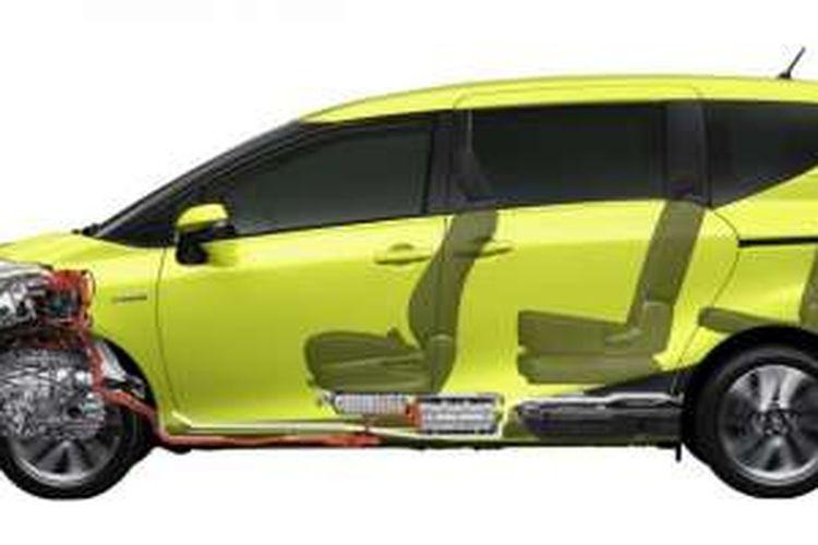 Toyota Sienta tanpak samping, diperlihatkan berpenggerak roda depan.