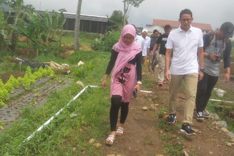 Calon wakil gubernur DKI Jakarta nomor pemilihan tiga Sandiaga Uno saat berkunjung ke The Learning Farm yang berlokasi di Kampung Rawa Benceuh, Desa Kawung Luwuk, Kecamatan Sukaresmi, Cianjur, Jawa Barat pada Kamis (23/3/2017)
