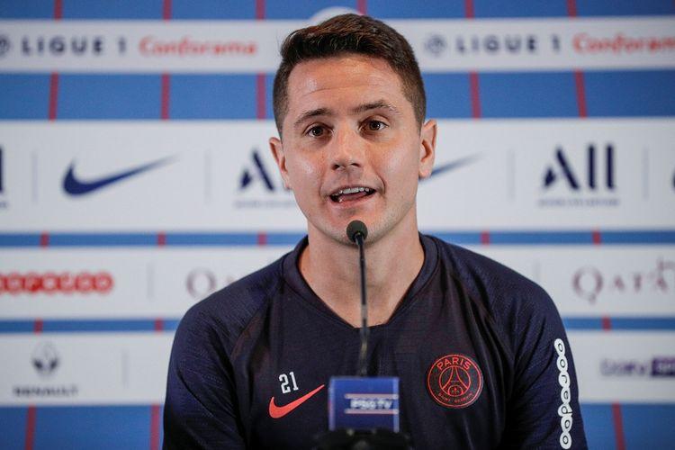 Gelandang Paris Saint-Germain asal Spanyol, Ander Herrera berikan keterangan di konferensi pers pada 13 September 2019 di Paris pada malam pertandingan sepakbola L1 Prancis melawan Strasbourg.