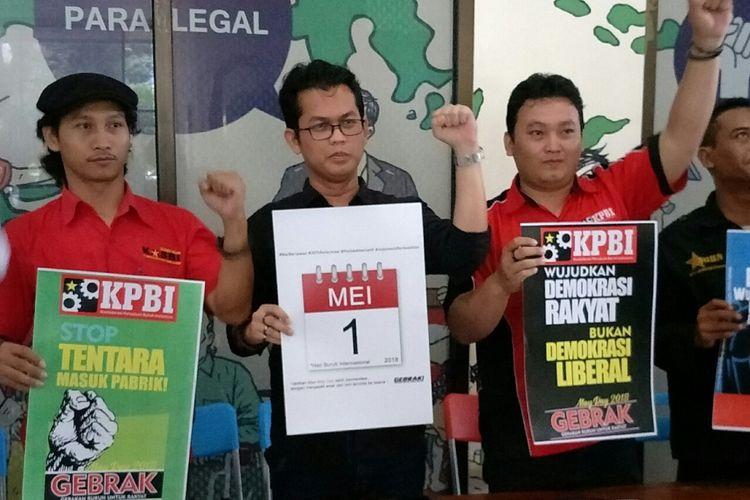 Gerakan Buruh untuk Rakyat (Gebrak) akan menggelar aksi demonstrasi May Day atau hari buruh Internasional pada 1 Mei mendatang, Jakarta, Jumat (27/4/2018).