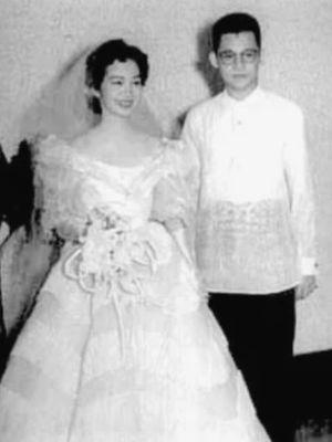 Upacara pernikahan Corazon dan Ninoy Aquino 1954 di Manila, Filipina. (Wikipedia)