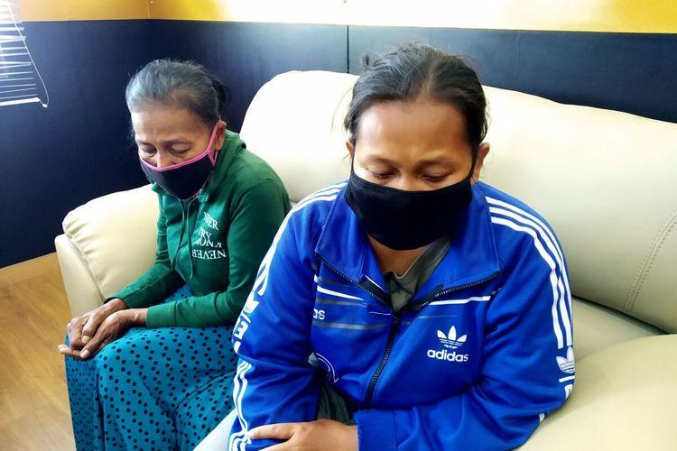 MRS dan YLT, pengutil di toko kelontong di Blitar, yang kini dibebaskan dari jeratan hukum menyusul dicabutnya laporan polisi oleh pemilik toko