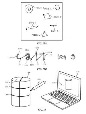 Selain obyek 2D, pena stylus dalam paten Apple juga bisa dipakai menggambar obyek 3D seperti silinder.