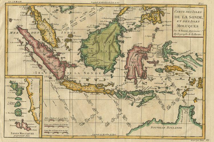 Peta Indonesia pada abad ke-18 yang menunjukkan nusantara dilalui oleh angin musim, yang penting bagi aktivitas pelayaran dan perdagangan.