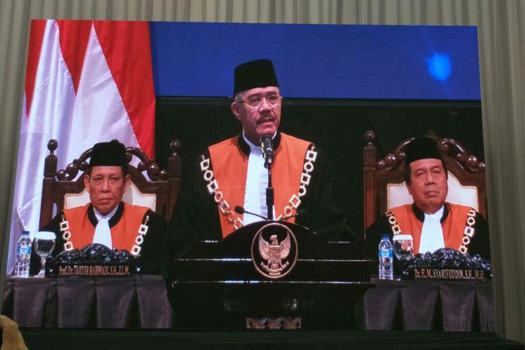 Ketua Mahkamah Agung Muhammad Hatta Ali menyampaikan pidato dalam Laporan Tahunan MA 2018 di Jakarta Convention Center, Rabu (27/2/2019).