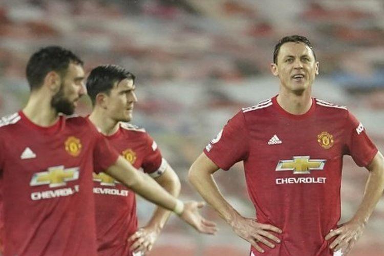 Para pemain Manchester United termasuk Bruno Fernandes dan Nemanja Matic bereaksi pada laga Man United vs Sheffield United, Kamis (28/1/2021) dini hari WIB.