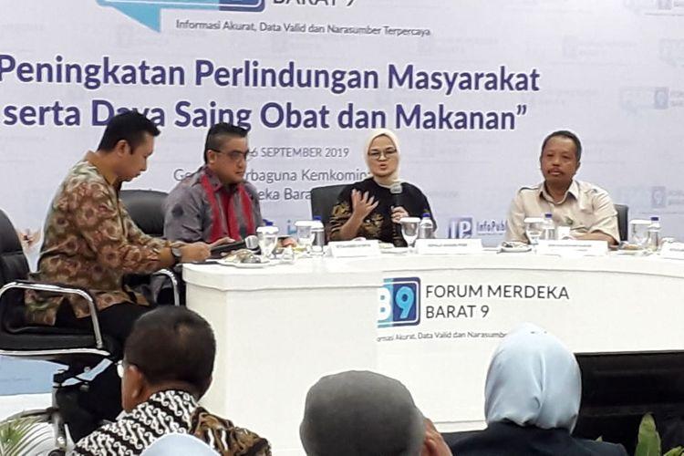 Suasana diskusi terkait peningkatan perlindungan masyarakat serta daya saing obat dan makanan di Jakarta, Senin (16/9/2019).