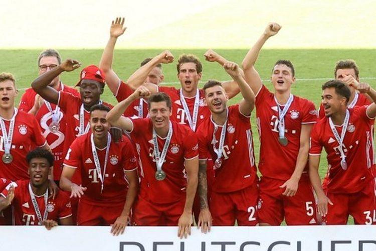 Skuad Bayern Muenchen saat merayakan gelar Bundesliga, kasta tertinggi Liga Jerman, musim 2019-2020.