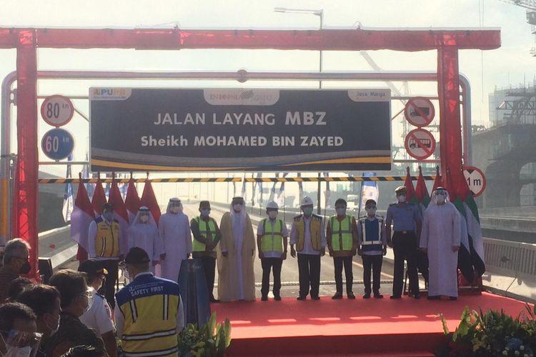 Peresmian Jalan Tol Layang Mohamed Bin Zayed, Senin (12/04/2021).