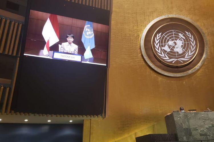 Menlu Retno Marsudi dalam Pertemuan Tingkat Tinggi Peringatan dan Promosi Hari Internasional Penghapusan Total Senjata Nuklir yang diselenggarakan secara virtual, Jumat (2/10/2020).