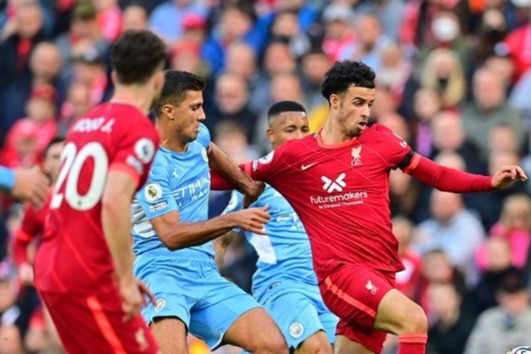 Pertandingan Liverpool vs Man City di Stadion Anfield, Minggu (3/10/2021) malam WIB.