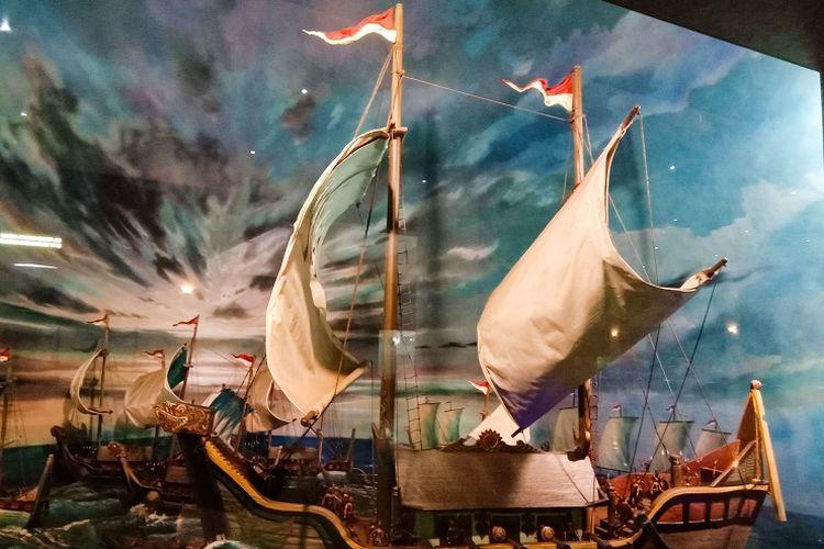 Diorama bernama Armada Perang Majapahit Abad Ke-14 yang terletak di Diorama Sisi 1 di lantai dasar Tugu Monas, Jakarta, Rabu (29/1/2020).