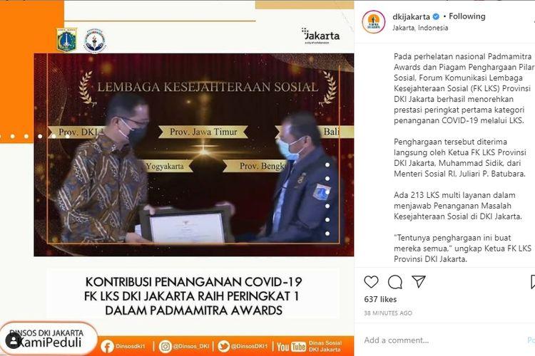Pemprov DKI Raih Penghargaan Penanganan Covid-19 dari Kemensos