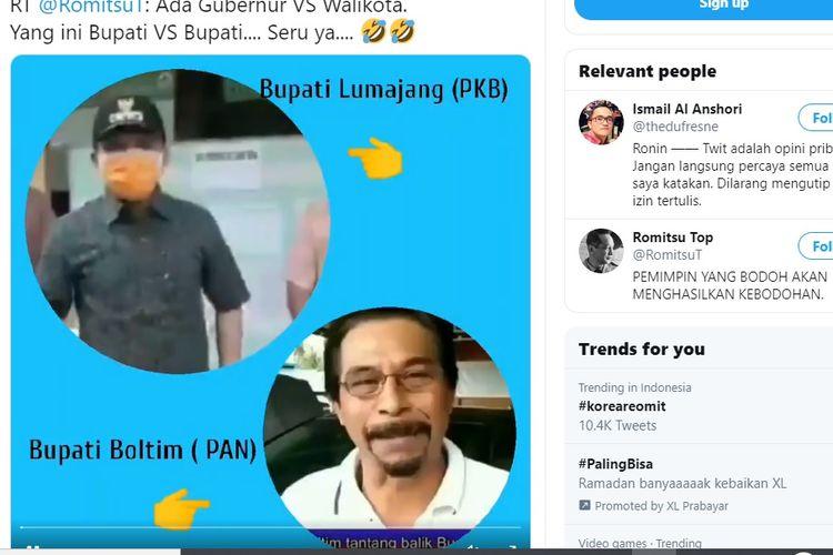 Viral video Bupati Lumajang Thoriqul Haq adu mulut dengan Bupati Bolang Mongondow Timur.