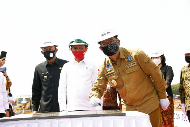 Gubernur Jawa Barat Ridwan Kamil dan Kepala BKPM Bahlil Lahadalia saat meresmikan pabrik elektronik di Kabupaten Subang, beberapa waktu lalu.