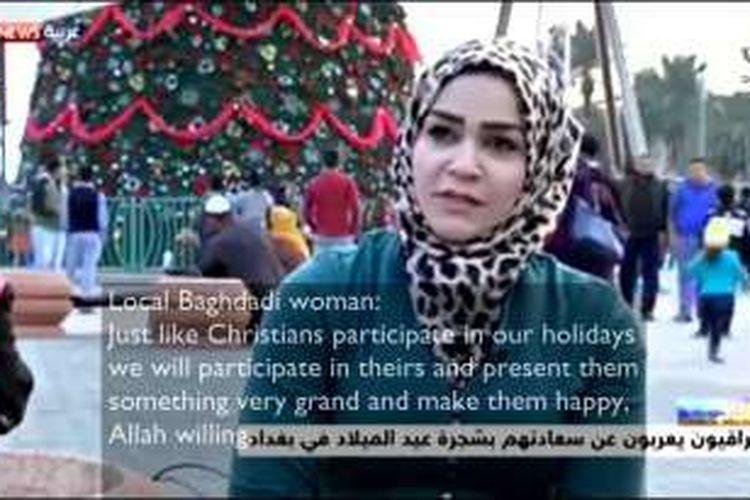 Seorang wanita Muslim di Baghdad berkomentar menyejukkan tentang bagaimana dia memaknai hari libur saudara-saudaranya yang Kristen.