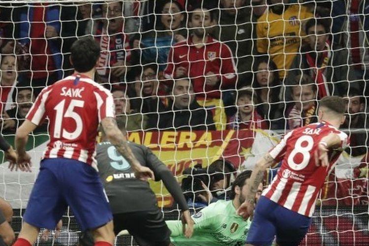 Saul Niguez mencetak gol ke gawang The Reds pada laga Atletico Madrid vs Liverpool di babak 16 besar Liga Champions, 19 Februari 2020.