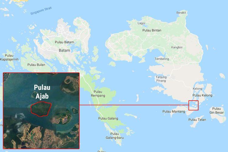 Lokasi Pulau Ajab pada peta Google Maps