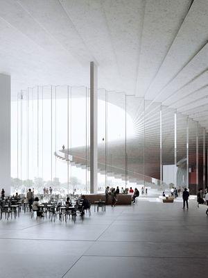 Bentuk gedung ini mengingatkan pada Oslo Opera House yang diselesaikan oleh firma ini pada 2008.