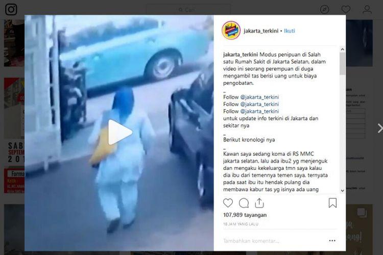 Akun Instagram @jakarta_terkini mengunggah sebuah video yang menampilkan seorang perempuan yang diduga telah melakukan pencurian di sebuah rumah sakit yang berlokasi di kawasan Jakarta Selatan.