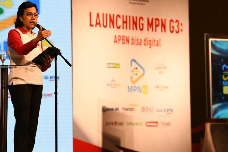 Menteri Keuangan Sri Mulyani  dalam acara peluncuran MPN G3 di Kementerian Keuangan, Jakarta, Jumat (23/8/2019)