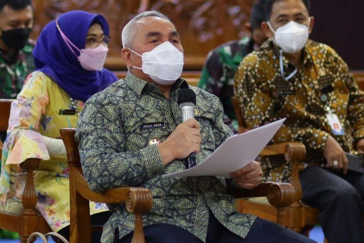 Gubernur Kaltim Isran Noor saat menggelar rapat bersama Forkopinda di Samarinda, Kamis (4/2/2021).