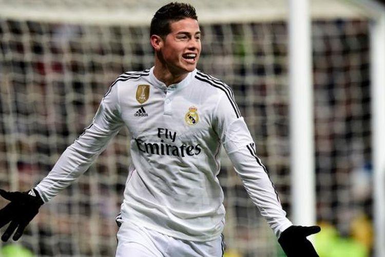 Gelandang Real Madrid, James Rodriguez, merayakan golnya seusai membobol gawang Sevilla, pada pertandingan lanjutan Primera Division, di Santiago Bernabeu, Rabu atau Kamis (5/2/2015) dini hari WIB.