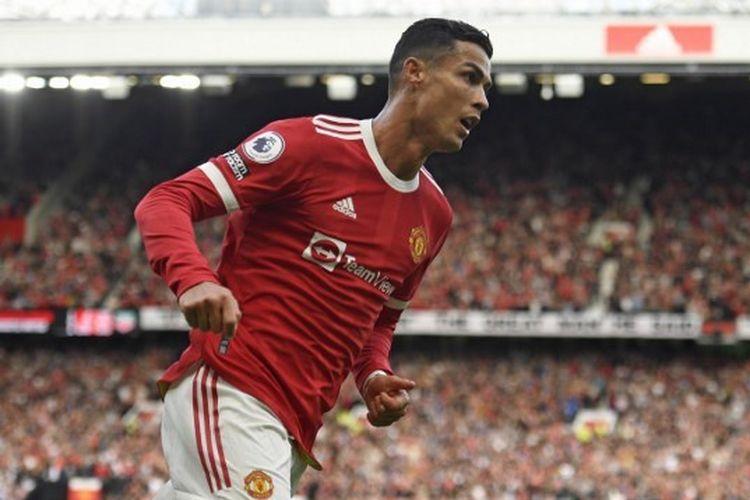Cristiano Ronaldo setelah mencetak gol dalam pertandingan Man United vs Newcastle pada pekan keempat Liga Inggris 2021-2022 di Stadion Old Trafford, Sabtu (11/9/2021) malam WIB.