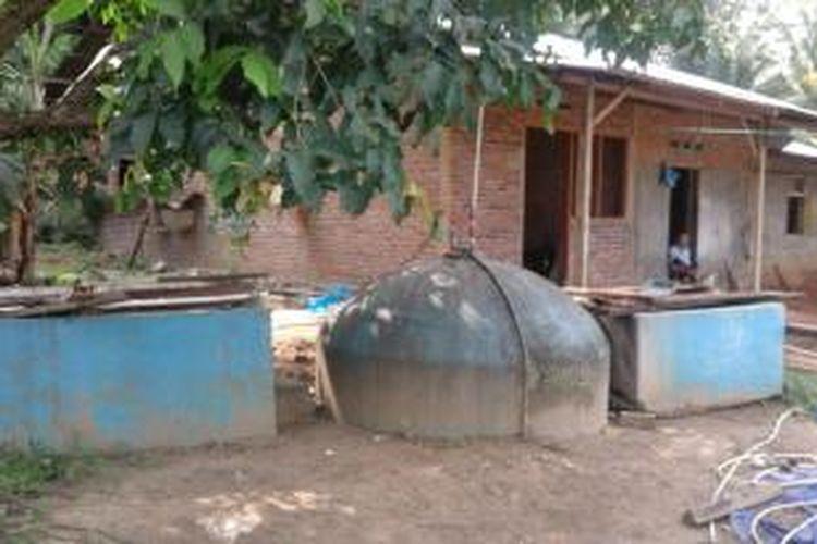 Perangkat pengelolaan kotoran sapi menjadi biogas