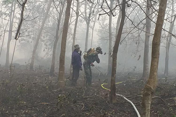 Seorang warga dan prajurit TNI sedang mematikan api karhutla menggunakan pompa penyemprot racun rumput di Kelurahan Terkul, Kecamatan Rupat, Kabupaten Bengkalis, Riau, Minggu (24/2/2019).