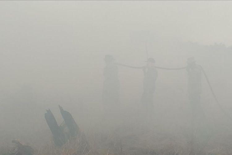Petugas kepolisian dan TNI memadamkan api karhutla di tengah kabut asap di Desa Teluk Bano II, Kecamatan Pekaitan, Kabupaten Rohil, Riau, Rabu (3/7/2019).