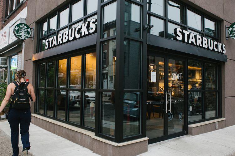 Ilustrasi toko kopi Starbucks.