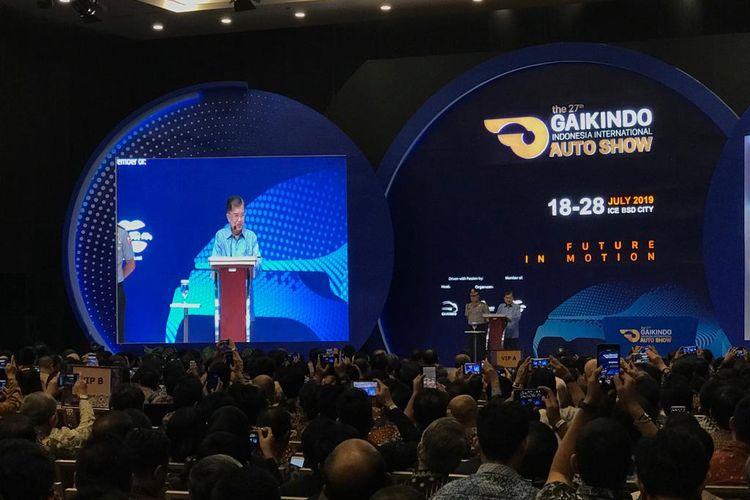 Wakil Presiden Jusuf Kalla saat membuka GIIAS di Tangerang, Kamis (18/7/2019).